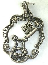 VINTAGE 1960'S 800 SILVER BREMEN GERMANY COAT OF ARMS PENDANT FOR A NECKLACE