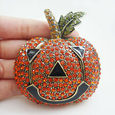 Vintage Red Halloween Pumpkin Art Nouveau Gold Tone Brooch Pin Austrian Crystal
