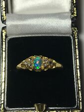 Vintage Opal & Diamond Ring, (Victorian) 18ct Yellow Gold. Fully Hallmarked