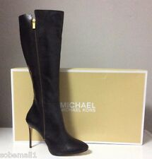 MICHAEL Michael Kors Clara Black Leather High Heel Boots Size 11