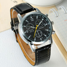 Men Watch Stainless Steel Leather Casual Military Analog Quartz Watch Black 1 Pc