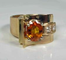 Engagement Women Ring 2.4CT Padparadscha Orange Sapphire Diamond 14K Yellow Gold