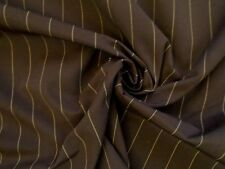 5 m Brown Chocolate & Tan Pinstripe Suiting Curtain Fabric Cotton Canvas Weave