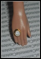 JEWELRY BARBIE DOLL MODEL MUSE JUICY COUTURE FAUX GOLD WHITE RING FOR  DIORAMA