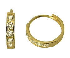14K Yellow Gold 2mm Thick 5 Stone CZ Channel Set Polished Hoop Huggies Earrings