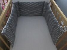Cushi cots Space saver cot bumper boys white stars set on grey new