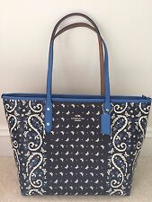 NEW COACH City Zip Tote Butterfly Bandana Print Coated Canvas Black/Lapis F59329