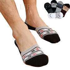 5 Pairs Mens Striped Cotton Invisible Nonslip No Show Loafer Boat Low Cut Socks