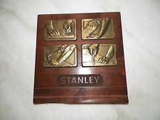 VINTAGE STANLEY TOOLS BRASS PLAQUE STORE DISPLAY OR AWARD