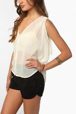 Urban Outfitters Staring at Stars Dropped Armhole Blouse Ivory Sheer Medium