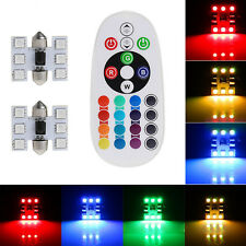 2 x 31mm 6SMD 16-Color RGB LED Festoon Dome Lamp Interior Light Remote Control