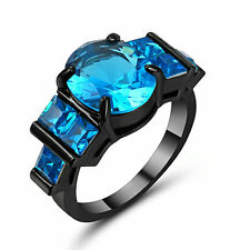 Size 9 Black Gold Blue Crystal Wedding Engagement Ring Band Anniversary