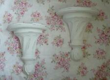 2 Large Vintage Wood Wooden Wall Shelf Sconces White Chic Shabby Cottage