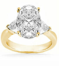 2 carat center OVAL shape DIAMOND Wedding 14K Yellow Gold Ring w 2 Trillion cut