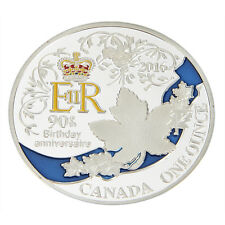 1x Queen's 90th Birthday Canada One Ounce Silver Plated Commemorative Coin 2016