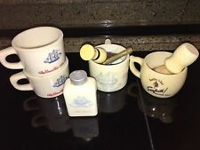 VINTAGE LOT OF 4 SHAVING MUGS, BRUSHES, AND RAZOR - OLD SPICE, SEA FORTH TALCUM