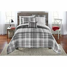 Grey Plaid Bedding Comforter and Sheet Set 6pc Twin/Twin XL Size Bed in a Bag