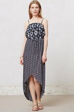 NIP Anthropologie SWEET PEA Ruffled Azul Dress Hi Low Tulip Remove Straps S