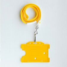 Yellow ID Card Holder & Yellow Neck Strap Lanyard With Metal Clip