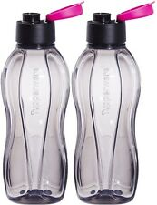 Tupperware Eco Sports Black Flip Top ONE Water Bottle-310ml -Pink Seal