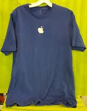 Staff Employee Apple Computer Embroidered Apple Logo Centered- Blue Polo Shirt M