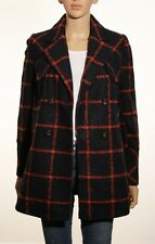 Debenhams Vintage Inspired Double Breasted Navy & Red Check Plaid Coat - UK 8