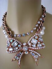 BETSEY JOHNSON ROSE GOLD PRINCESS BOW CRYSTAL & PEARL STATEMENT NECKLACE~NWT