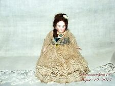 ANTIQUE GERMANY #5548  BISQUE DOUBLE JOINTED VICTORIAN DRESS MINIATURE 4''.DOLL