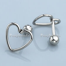 2 Stainless Steel Love Heart 16G Barbell Ear Tragus Cartilage Helix Stud Earring
