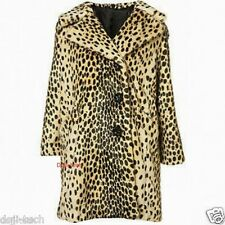 Topshop Premium Leopard Animal Faux Fur Celebrity 60s Vtg Car Coat 4 6 US0/2 XS