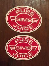 2 VINTAGE SIMS SKATEBOARD STICKERS FROM 1970's   Pure Juice  snowboard sticker