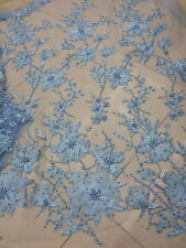 Blue Beaded Tulle Embroidered Lace Fabric Bridal Gown fabric Retro Floral S0282