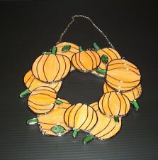 """Stained Glass Pumpkin Wreath Suncatcher 11"""" x 11"""" Halloween Fall Thanksgiving"""