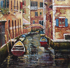 """""""Morning Stroll"""" Colorful Oil Painting of Street Canals in Venice, Italy 24""""x24"""""""