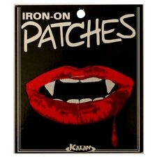 Vampire Teeth Mouth Lips Iron On Badge Applique Patch KN 416C