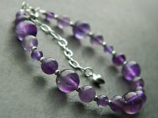Beautiful Amethyst & 925 Sterling Silver Bracelet, Graduating Smooth Round Beads