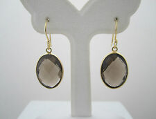 Hand Crafted 18K Gold Plated Over 925 Silver Smoky Quartz Drop Earrings SE200