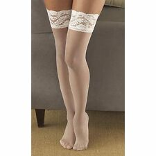 Berkshire Shimmers Sheer Invisible Toe Thigh-Hi Ivory Stockings Size Queen 1
