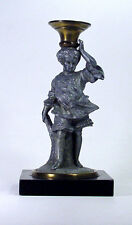 Antique Brass Pot Metal Oil Lamp Base / Candle Holder Figural Victorian Statue
