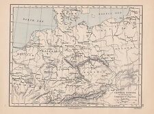 1885 VICTORIAN HISTORICAL MAP ~ CENTRAL EUROPE ILLUSTRATE CAMPAIGNS OF NAPOLEON