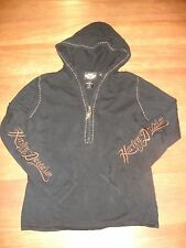 HARLEY DAVIDSON BLACK BROWN EMBROIDERED CONTRAST STITCH 3/4 ZIP HOODED SWEATER M