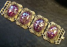 "Really Big Victorian Purple Bubble Gold Metal 4 Panel 8"" Bracelet Foiled"