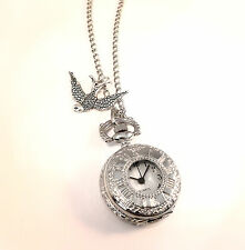 Vintage Plata tragar Reloj De Bolsillo Reloj necklace-jewellery-alice In Wonderland