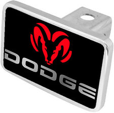 New Dodge Red Logo Mirrored Word Tow Hitch Cover Plug