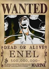 POSTER A4 PLASTIFIE-LAMINATED(1 FREE/1 GRATUIT)*MANGA ONE PIECE WANTED ENEL.