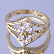 Classic Trendy Womens Yellow Gold Filled Clear Cubic Zirconia Ring Size 6