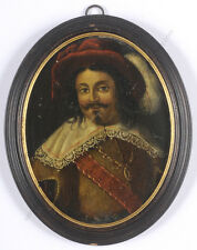 """Portrait of a musketeer"", French oil on copper miniature, 17th century"