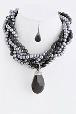 D15 Twisted Black Gray Pearl Rhinestone Pendant Necklace Earring Set Boutique