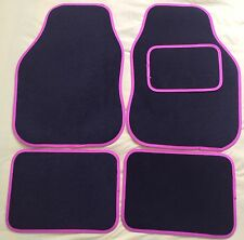 CAR FLOOR MATS FOR FORD FOCUS FIESTA MONDEO KA KUGA - BLACK WITH PINK TRIM