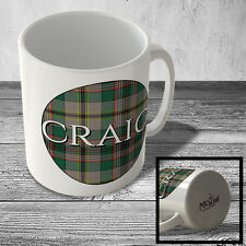 MUG_CLAN_608 CRAIG surname (Craig Ancient Tartan) (circle background) - Scottish